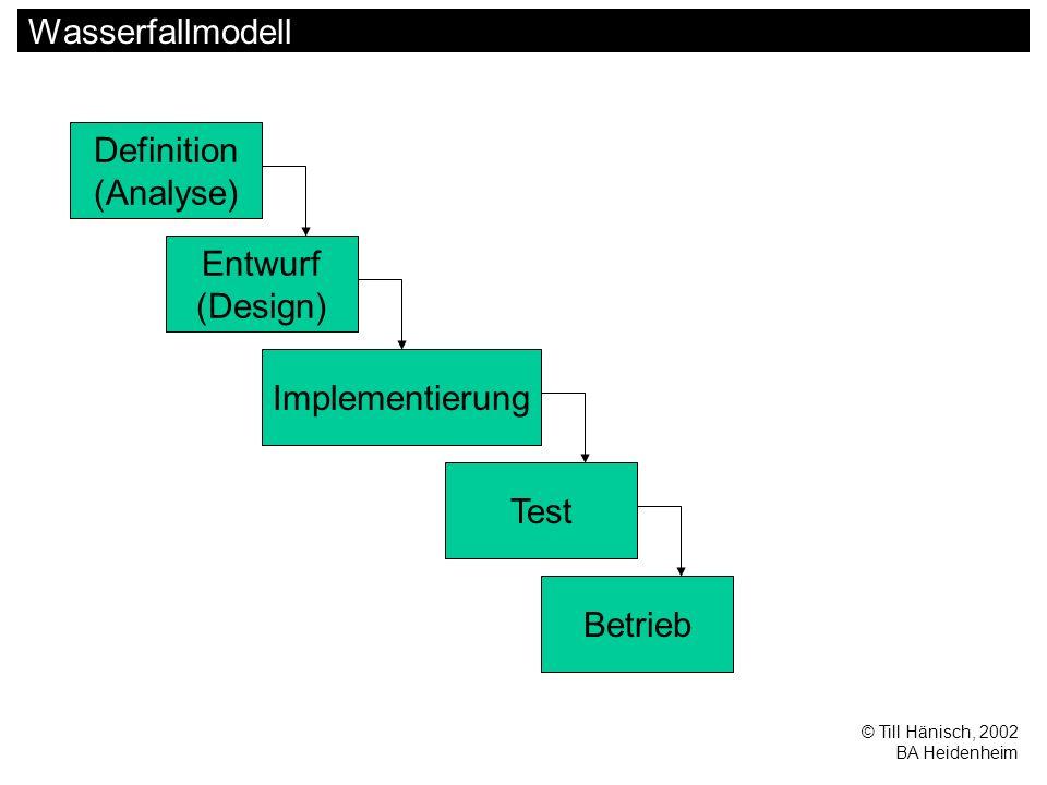 © Till Hänisch, 2002 BA Heidenheim Wasserfallmodell Definition (Analyse) Entwurf (Design) Implementierung Test Betrieb