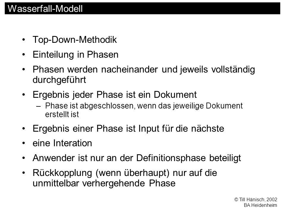 © Till Hänisch, 2002 BA Heidenheim Wasserfall-Modell Top-Down-Methodik Einteilung in Phasen Phasen werden nacheinander und jeweils vollständig durchgeführt Ergebnis jeder Phase ist ein Dokument –Phase ist abgeschlossen, wenn das jeweilige Dokument erstellt ist Ergebnis einer Phase ist Input für die nächste eine Interation Anwender ist nur an der Definitionsphase beteiligt Rückkopplung (wenn überhaupt) nur auf die unmittelbar verhergehende Phase