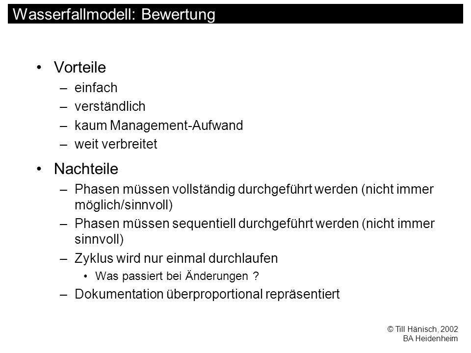 © Till Hänisch, 2002 BA Heidenheim V-Modell Anforderungs- Definition Grobentwurf Feinentwurf Modul- implementation Modultest Integrationstest Systemtest Abnahmetest Testfälle Anwendungsszenarien Validierung Verifikation