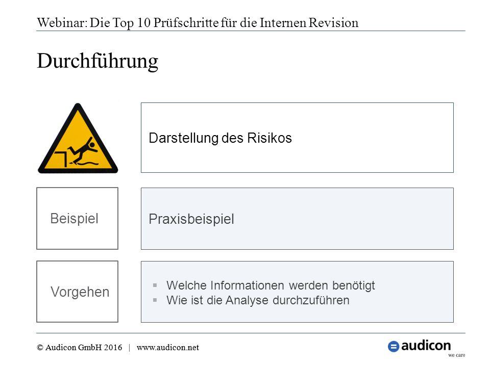Webinar: Die Top 10 Prüfschritte für die Internen Revision © Audicon GmbH 2016 | www.audicon.net Durchführung © Audicon GmbH 2016 | www.audicon.net 