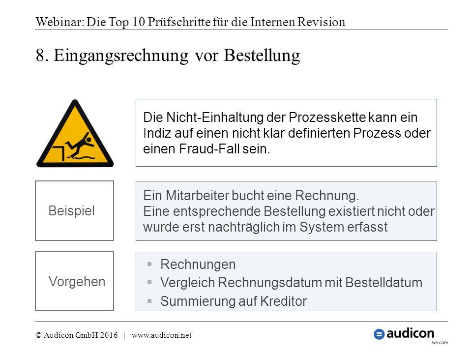 8. Eingangsrechnung vor Bestellung Webinar: Die Top 10 Prüfschritte für die Internen Revision © Audicon GmbH 2016 | www.audicon.net  Rechnungen  Ver