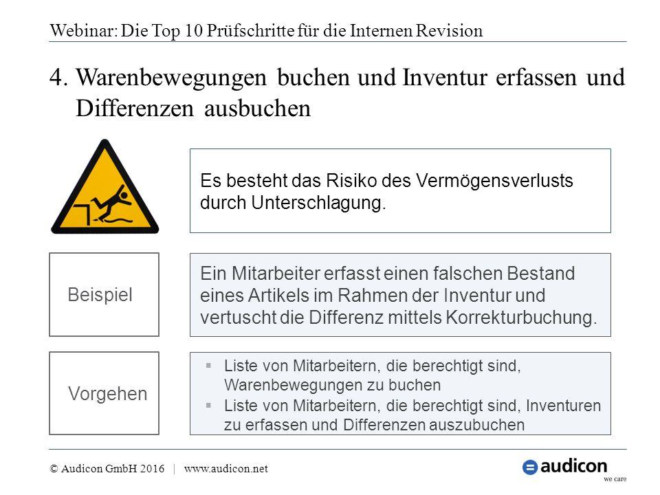 4. Warenbewegungen buchen und Inventur erfassen und Differenzen ausbuchen Webinar: Die Top 10 Prüfschritte für die Internen Revision © Audicon GmbH 20