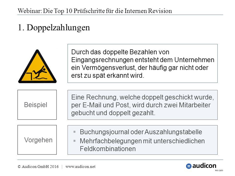 1. Doppelzahlungen Webinar: Die Top 10 Prüfschritte für die Internen Revision © Audicon GmbH 2016 | www.audicon.net  Buchungsjournal oder Auszahlungs