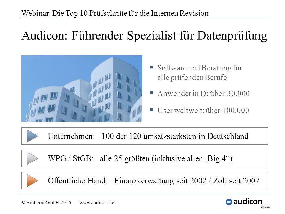 Audicon: Führender Spezialist für Datenprüfung Webinar: Die Top 10 Prüfschritte für die Internen Revision  Software und Beratung für alle prüfenden B