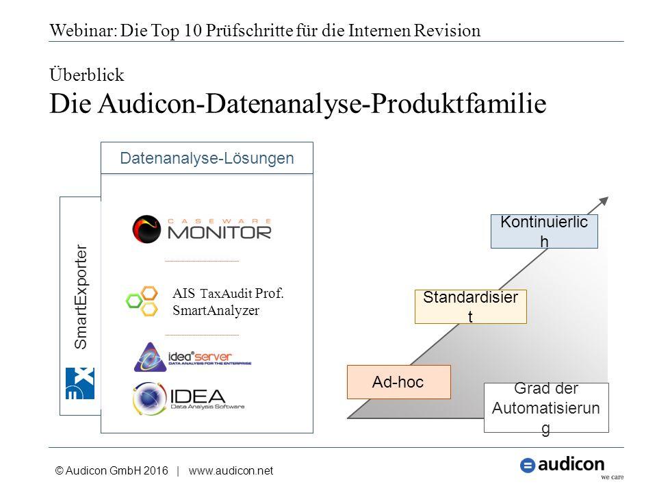 Überblick Die Audicon-Datenanalyse-Produktfamilie © Audicon GmbH 2016 | www.audicon.net Webinar: Die Top 10 Prüfschritte für die Internen Revision Grad der Automatisierun g Datenanalyse-Lösungen SmartExporter Ad-hoc Standardisier t Kontinuierlic h AIS TaxAudit Prof.