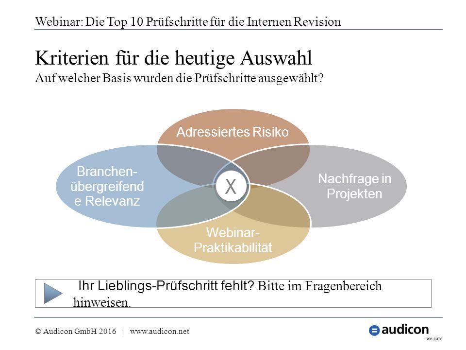 Webinar: Die Top 10 Prüfschritte für die Internen Revision © Audicon GmbH 2016 | www.audicon.net Kriterien für die heutige Auswahl Auf welcher Basis w