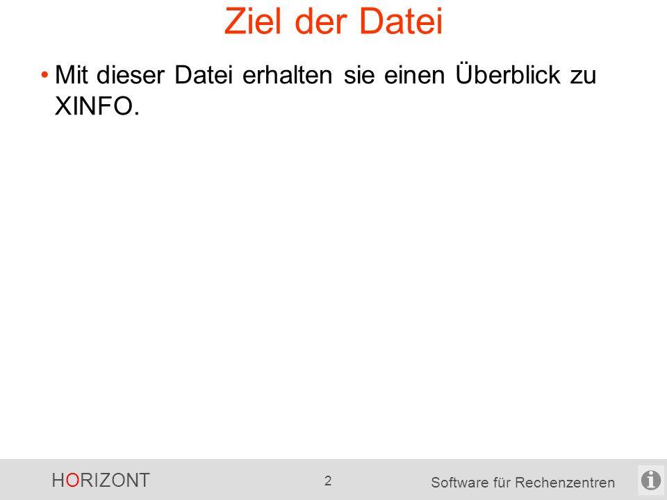 HORIZONT 32 Software für Rechenzentren Use Cases verschiedene Use Cases werden in den folgenden Folien beschrieben