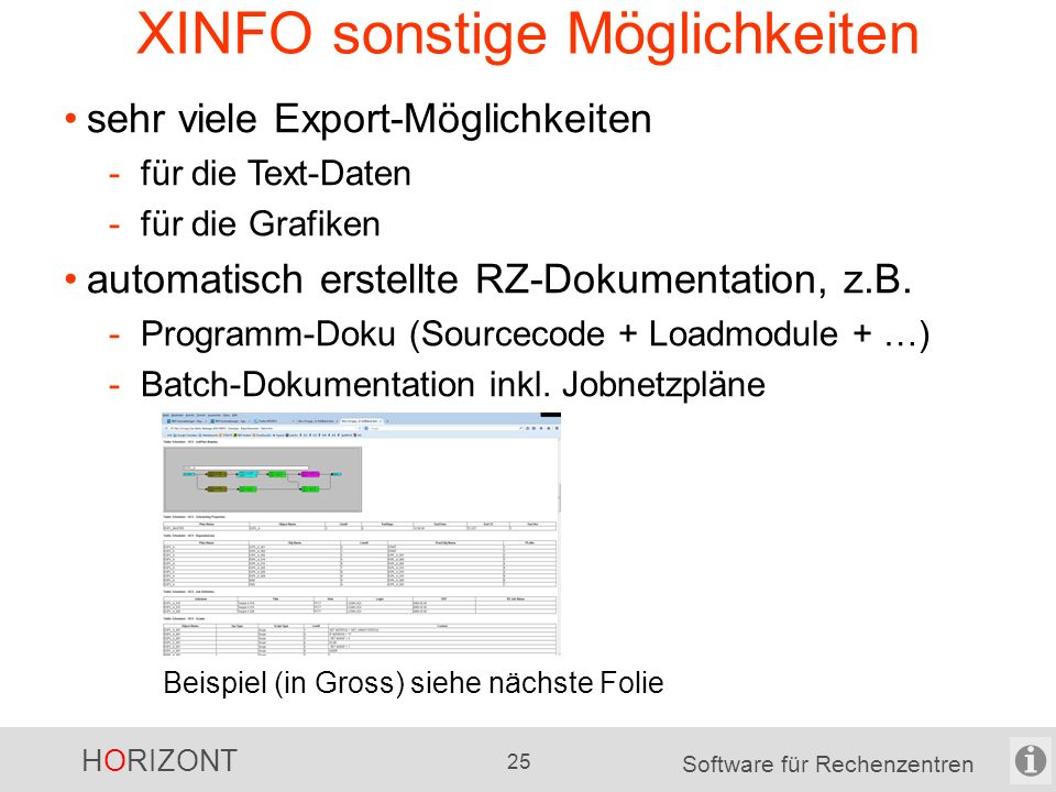 """HORIZONT 24 Software für Rechenzentren das """"X im XINFO - Bsp."""