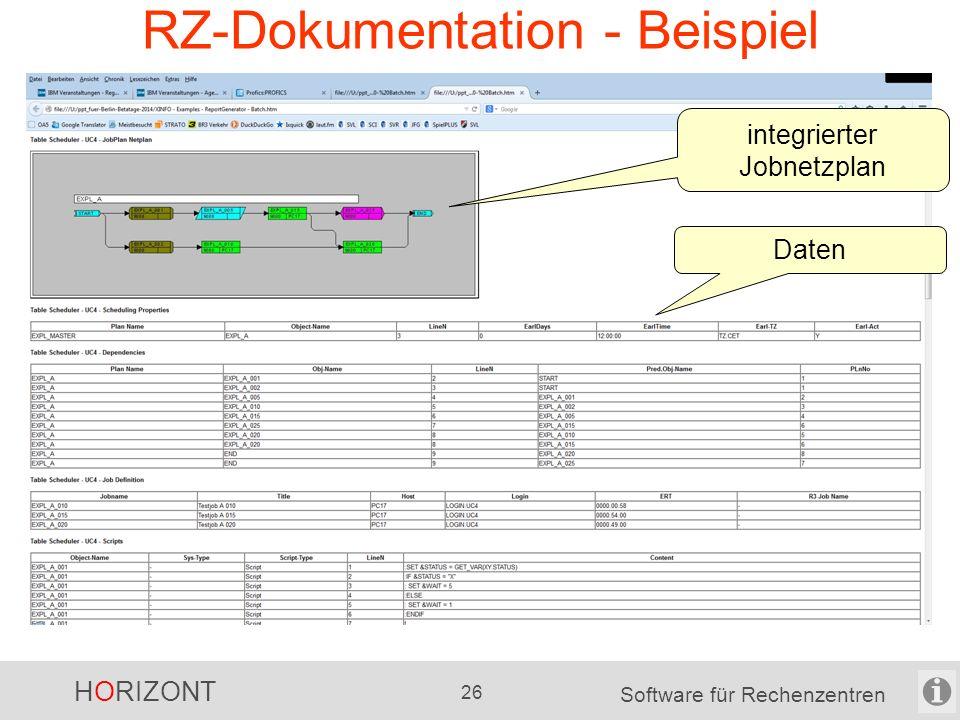 HORIZONT 25 Software für Rechenzentren XINFO sonstige Möglichkeiten sehr viele Export-Möglichkeiten -für die Text-Daten -für die Grafiken automatisch erstellte RZ-Dokumentation, z.B.