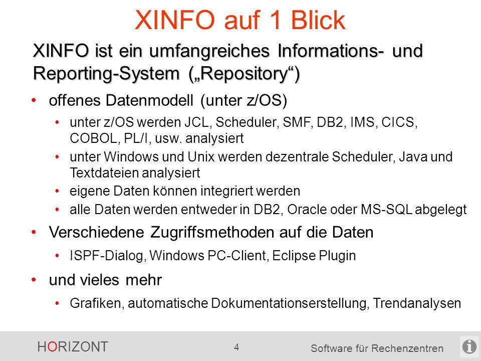 """HORIZONT 4 Software für Rechenzentren XINFO auf 1 Blick XINFO ist ein umfangreiches Informations- und Reporting-System (""""Repository ) offenes Datenmodell (unter z/OS) unter z/OS werden JCL, Scheduler, SMF, DB2, IMS, CICS, COBOL, PL/I, usw."""