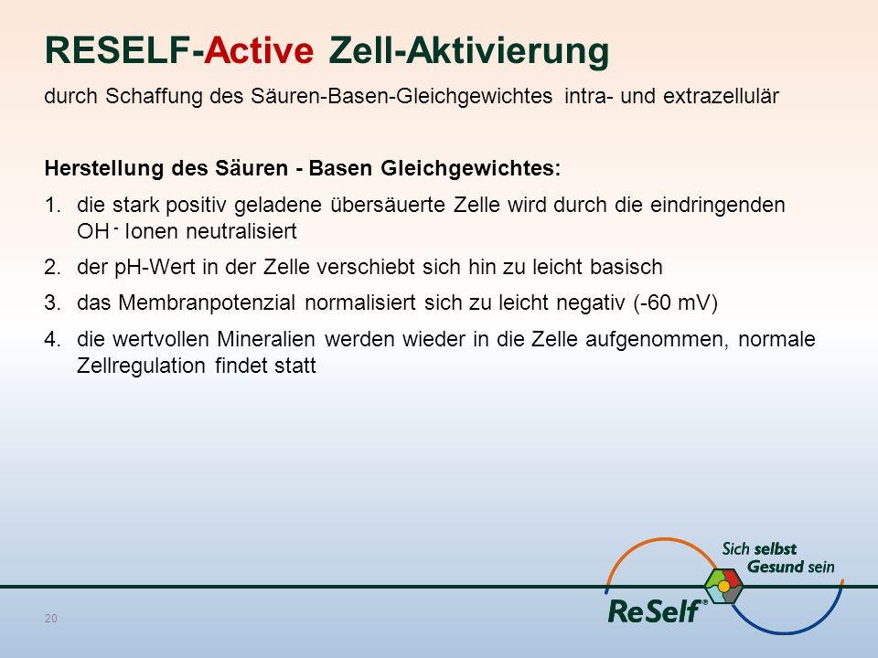 RESELF-Active Zell-Aktivierung durch Schaffung des Säuren-Basen-Gleichgewichtes intra- und extrazellulär Herstellung des Säuren - Basen Gleichgewichtes: 1.die stark positiv geladene übersäuerte Zelle wird durch die eindringenden OH - Ionen neutralisiert 2.der pH-Wert in der Zelle verschiebt sich hin zu leicht basisch 3.das Membranpotenzial normalisiert sich zu leicht negativ (-60 mV) 4.die wertvollen Mineralien werden wieder in die Zelle aufgenommen, normale Zellregulation findet statt 20