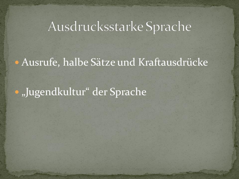 """Ausrufe, halbe Sätze und Kraftausdrücke """"Jugendkultur der Sprache"""