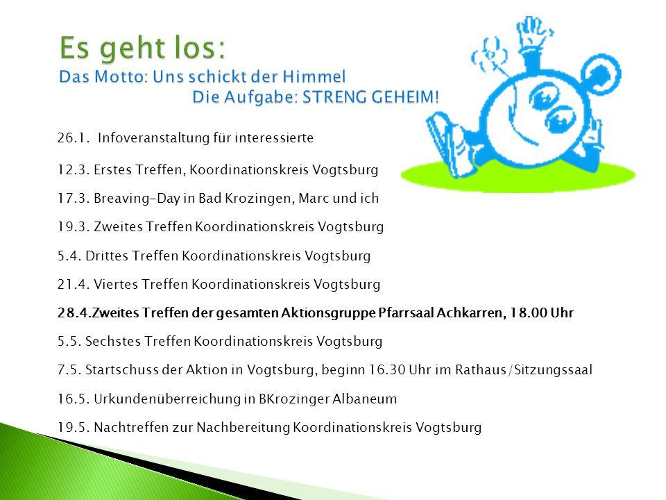 26.1. Infoveranstaltung für interessierte 12.3. Erstes Treffen, Koordinationskreis Vogtsburg 17.3.