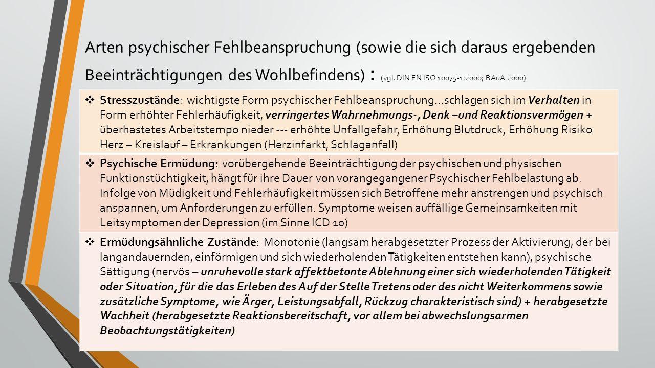 Arten psychischer Fehlbeanspruchung (sowie die sich daraus ergebenden Beeinträchtigungen des Wohlbefindens) : (vgl. DIN EN ISO 10075-1:2000; BAuA 2000