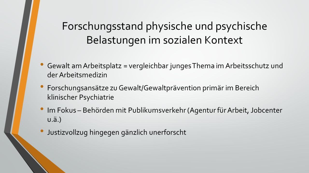Forschungsstand physische und psychische Belastungen im sozialen Kontext Gewalt am Arbeitsplatz = vergleichbar junges Thema im Arbeitsschutz und der A