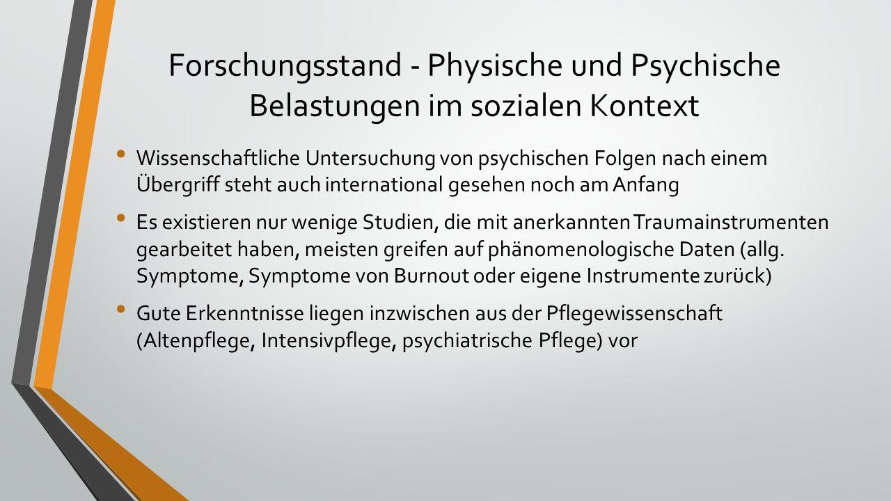Forschungsstand - Physische und Psychische Belastungen im sozialen Kontext Wissenschaftliche Untersuchung von psychischen Folgen nach einem Übergriff