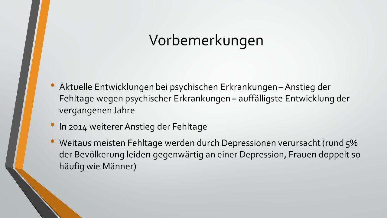 Vorbemerkungen Aktuelle Entwicklungen bei psychischen Erkrankungen – Anstieg der Fehltage wegen psychischer Erkrankungen = auffälligste Entwicklung de