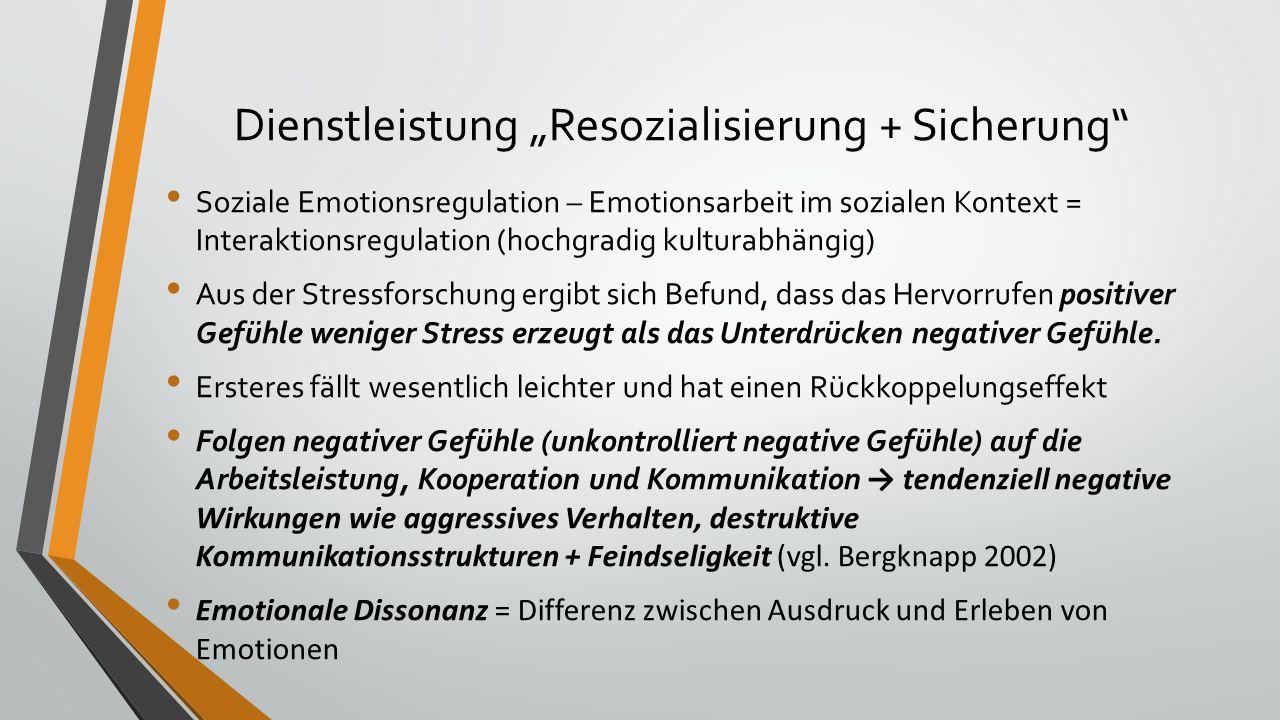 """Dienstleistung """"Resozialisierung + Sicherung Soziale Emotionsregulation – Emotionsarbeit im sozialen Kontext = Interaktionsregulation (hochgradig kulturabhängig) Aus der Stressforschung ergibt sich Befund, dass das Hervorrufen positiver Gefühle weniger Stress erzeugt als das Unterdrücken negativer Gefühle."""