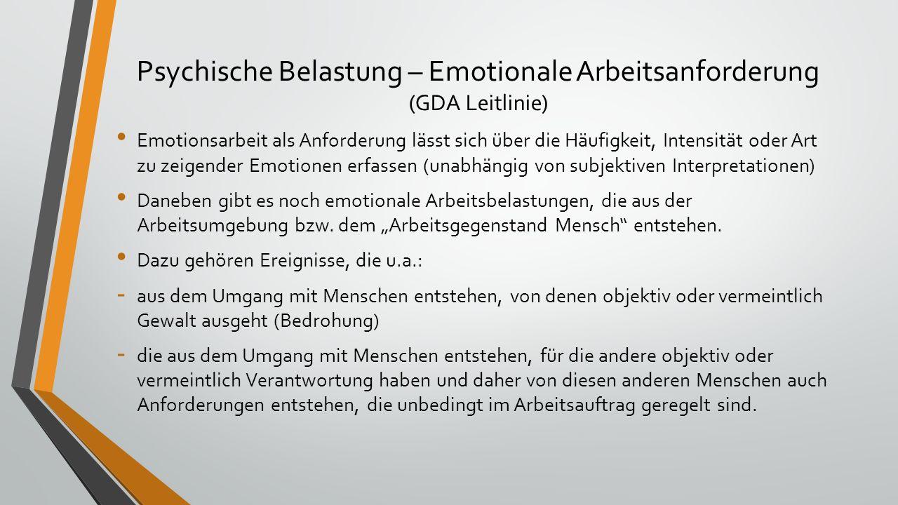 Psychische Belastung – Emotionale Arbeitsanforderung (GDA Leitlinie) Emotionsarbeit als Anforderung lässt sich über die Häufigkeit, Intensität oder Art zu zeigender Emotionen erfassen (unabhängig von subjektiven Interpretationen) Daneben gibt es noch emotionale Arbeitsbelastungen, die aus der Arbeitsumgebung bzw.