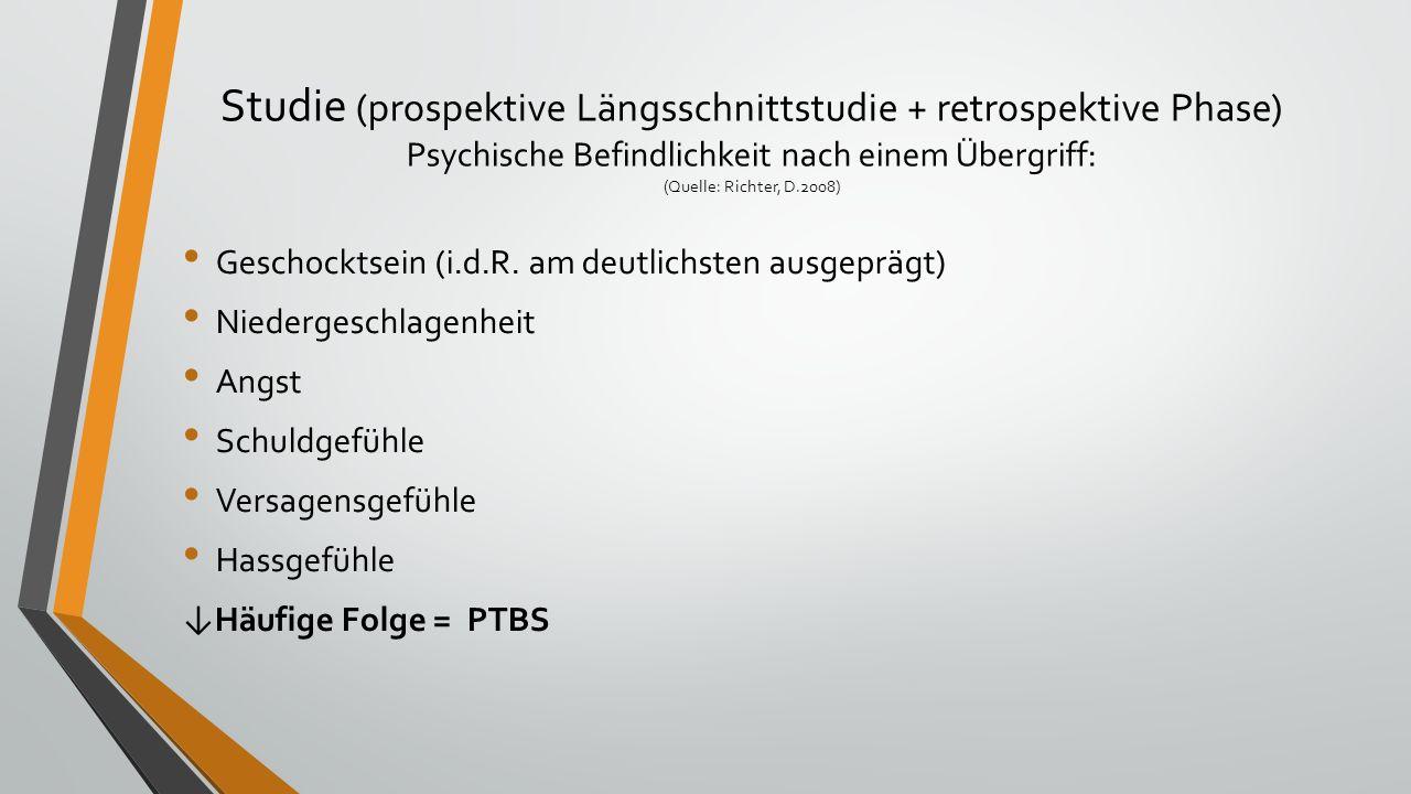 Studie (prospektive Längsschnittstudie + retrospektive Phase) Psychische Befindlichkeit nach einem Übergriff: (Quelle: Richter, D.2008) Geschocktsein