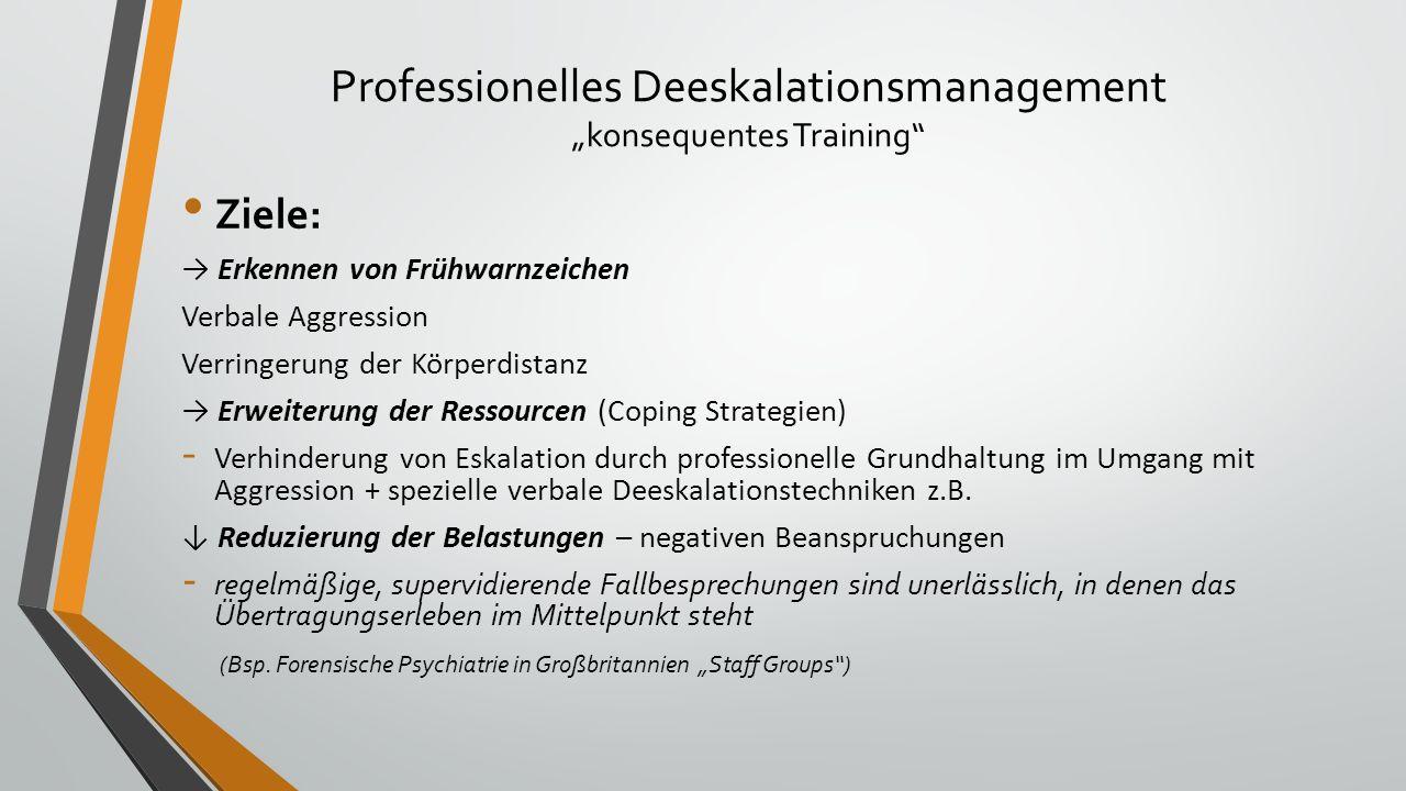 """Professionelles Deeskalationsmanagement """"konsequentes Training"""" Ziele: → Erkennen von Frühwarnzeichen Verbale Aggression Verringerung der Körperdistan"""