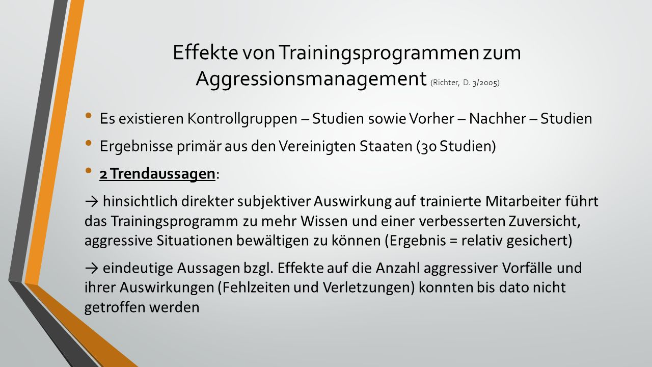 Effekte von Trainingsprogrammen zum Aggressionsmanagement (Richter, D.