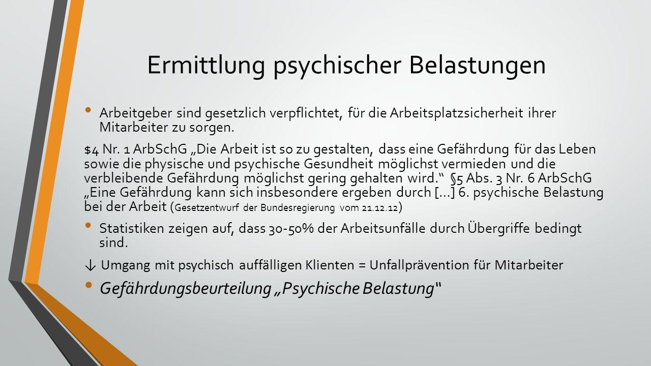 Ermittlung psychischer Belastungen Arbeitgeber sind gesetzlich verpflichtet, für die Arbeitsplatzsicherheit ihrer Mitarbeiter zu sorgen. $4 Nr. 1 ArbS