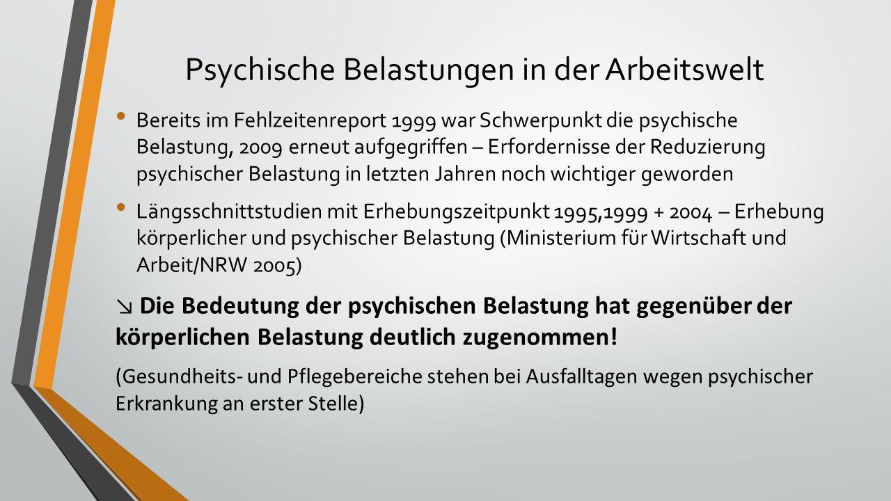 Psychische Belastungen in der Arbeitswelt Bereits im Fehlzeitenreport 1999 war Schwerpunkt die psychische Belastung, 2009 erneut aufgegriffen – Erford