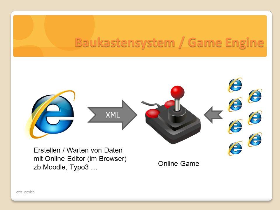 gtn gmbh XML Online Game Erstellen / Warten von Daten mit Online Editor (im Browser) zb Moodle, Typo3 … Baukastensystem / Game Engine
