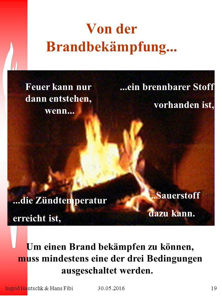 Ingrid Hantschk & Hans Fibi30.05.201619 Von der Brandbekämpfung... Feuer kann nur dann entstehen, wenn... Um einen Brand bekämpfen zu können, muss min