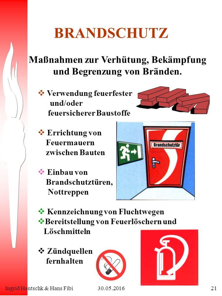 Ingrid Hantschk & Hans Fibi30.05.201621 BRANDSCHUTZ Maßnahmen zur Verhütung, Bekämpfung und Begrenzung von Bränden.