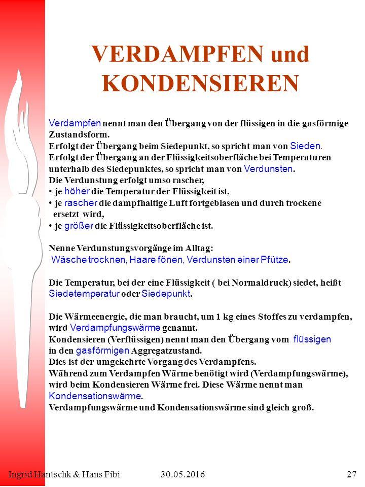Ingrid Hantschk & Hans Fibi30.05.201627 VERDAMPFEN und KONDENSIEREN Verdampfen nennt man den Übergang von der flüssigen in die gasförmige Zustandsform