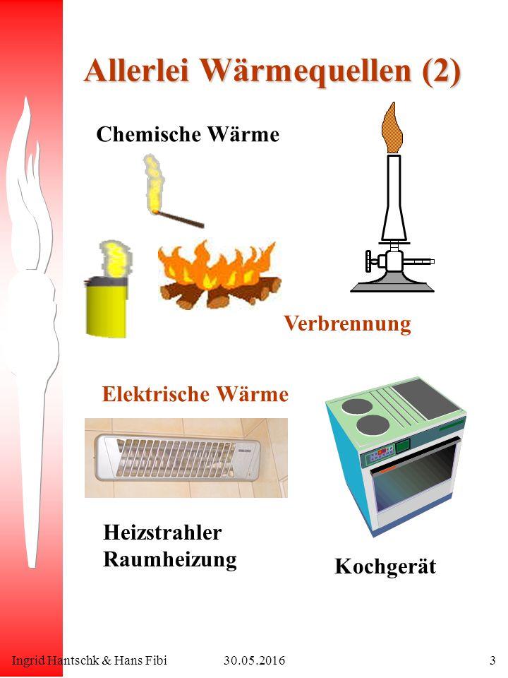 Ingrid Hantschk & Hans Fibi30.05.20163 Allerlei Wärmequellen (2) Chemische Wärme Verbrennung Elektrische Wärme Heizstrahler Raumheizung Kochgerät