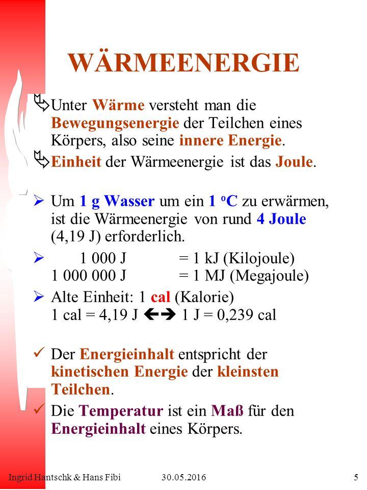 Ingrid Hantschk & Hans Fibi30.05.20165 WÄRMEENERGIE Ä Unter Wärme versteht man die Bewegungsenergie der Teilchen eines Körpers, also seine innere Energie.