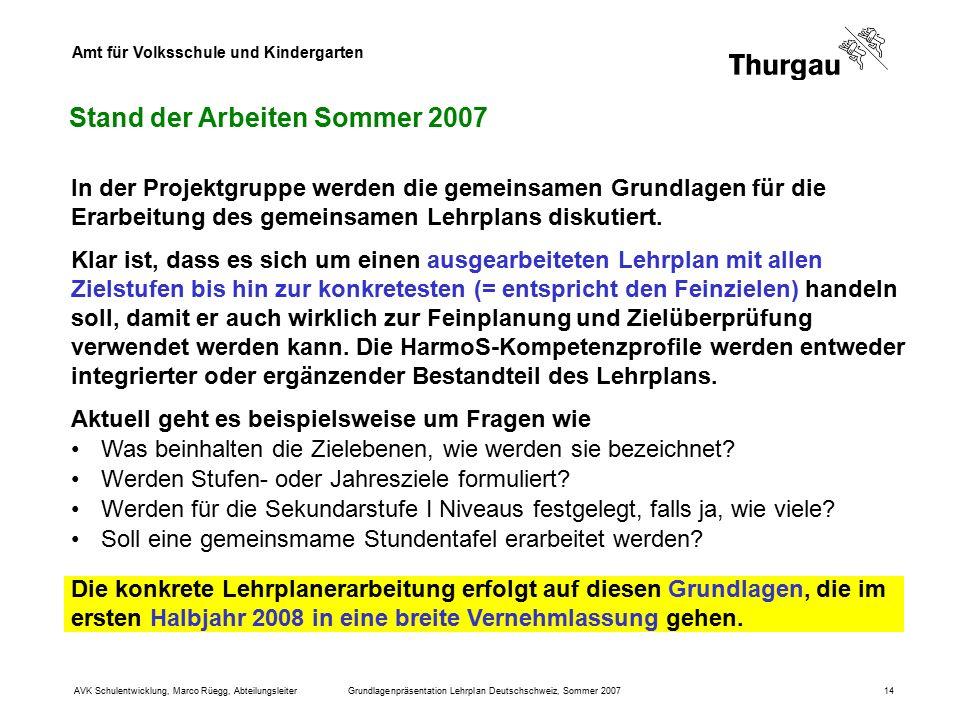 Amt für Volksschule und Kindergarten AVK Schulentwicklung, Marco Rüegg, AbteilungsleiterGrundlagenpräsentation Lehrplan Deutschschweiz, Sommer 200714