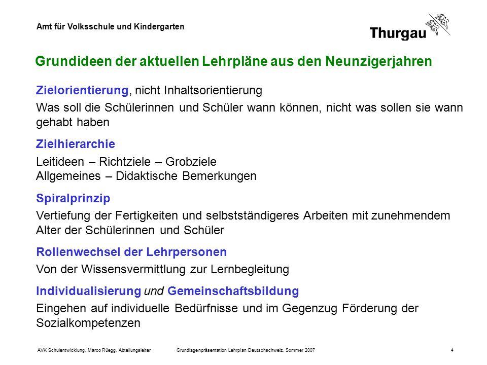 Amt für Volksschule und Kindergarten AVK Schulentwicklung, Marco Rüegg, AbteilungsleiterGrundlagenpräsentation Lehrplan Deutschschweiz, Sommer 20074 G