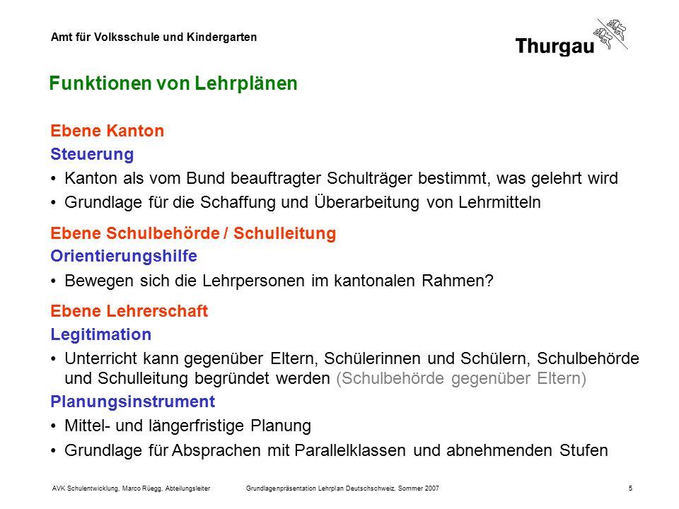 Amt für Volksschule und Kindergarten AVK Schulentwicklung, Marco Rüegg, AbteilungsleiterGrundlagenpräsentation Lehrplan Deutschschweiz, Sommer 20075 F