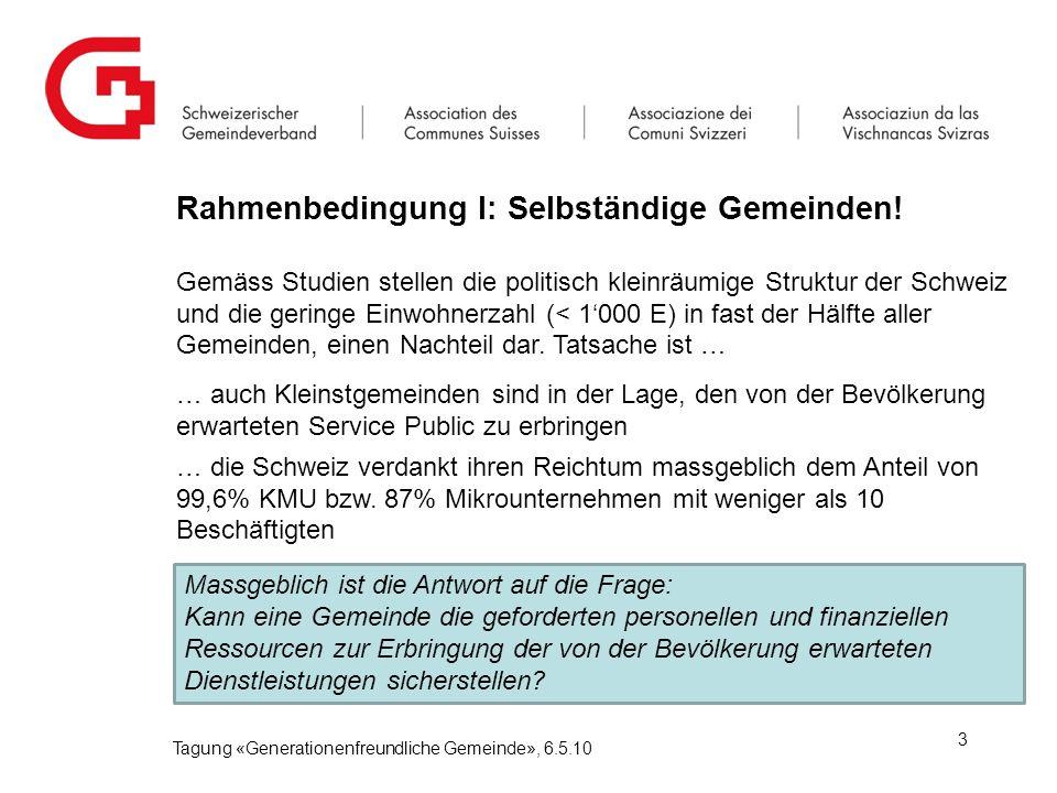 Rahmenbedingung I: Selbständige Gemeinden.