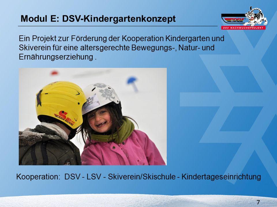 8 Kooperation Skiverein – Kindertagesstätte DSV-Kindergartenkonzept als Modul ErnährungNatur/UmweltBewegung Modul E: DSV-Kindergartenkonzept DSV-Schulsportkonzept als Modul