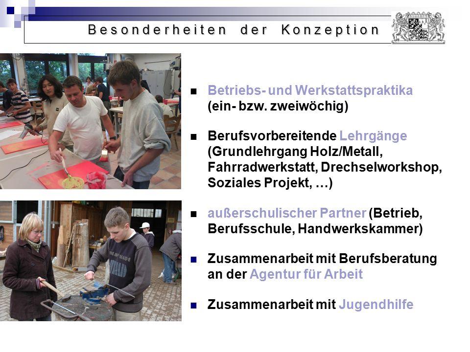 Betriebs- und Werkstattspraktika (ein- bzw. zweiwöchig) Berufsvorbereitende Lehrgänge (Grundlehrgang Holz/Metall, Fahrradwerkstatt, Drechselworkshop,
