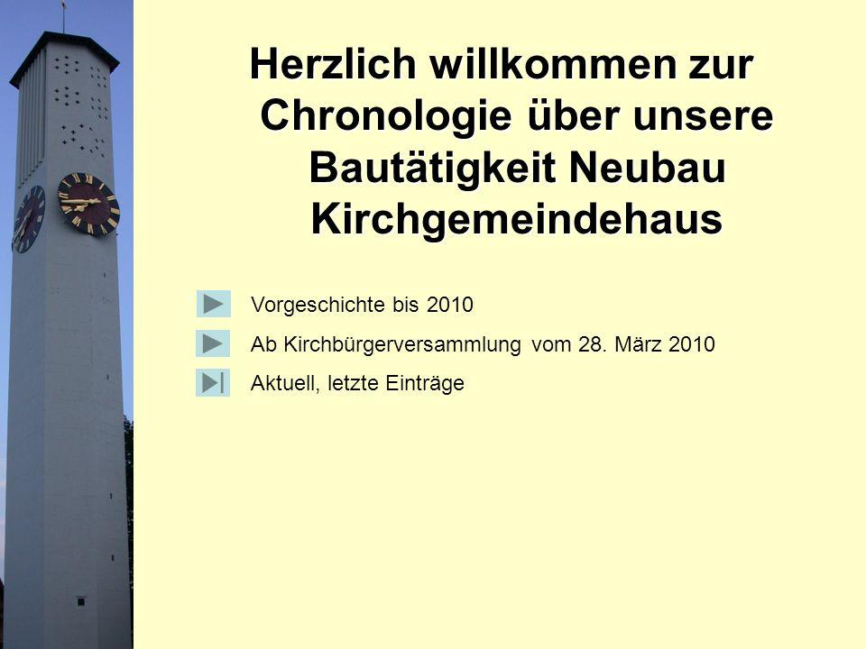 Herzlich willkommen zur Chronologie über unsere Bautätigkeit Neubau Kirchgemeindehaus Vorgeschichte bis 2010 Ab Kirchbürgerversammlung vom 28.