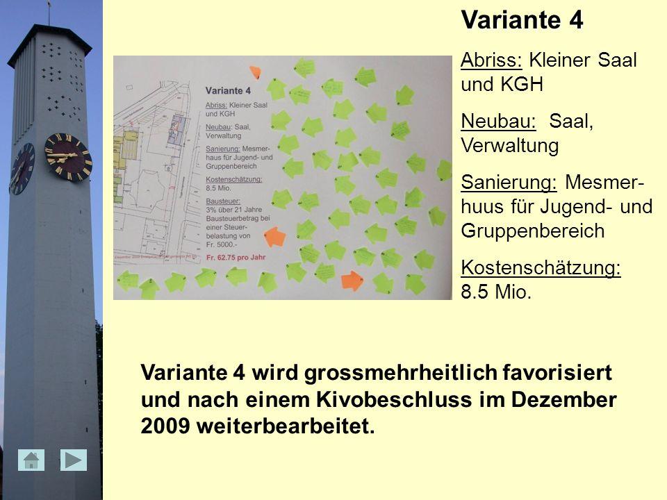 Variante 4 Abriss: Kleiner Saal und KGH Neubau: Saal, Verwaltung Sanierung: Mesmer- huus für Jugend- und Gruppenbereich Kostenschätzung: 8.5 Mio.
