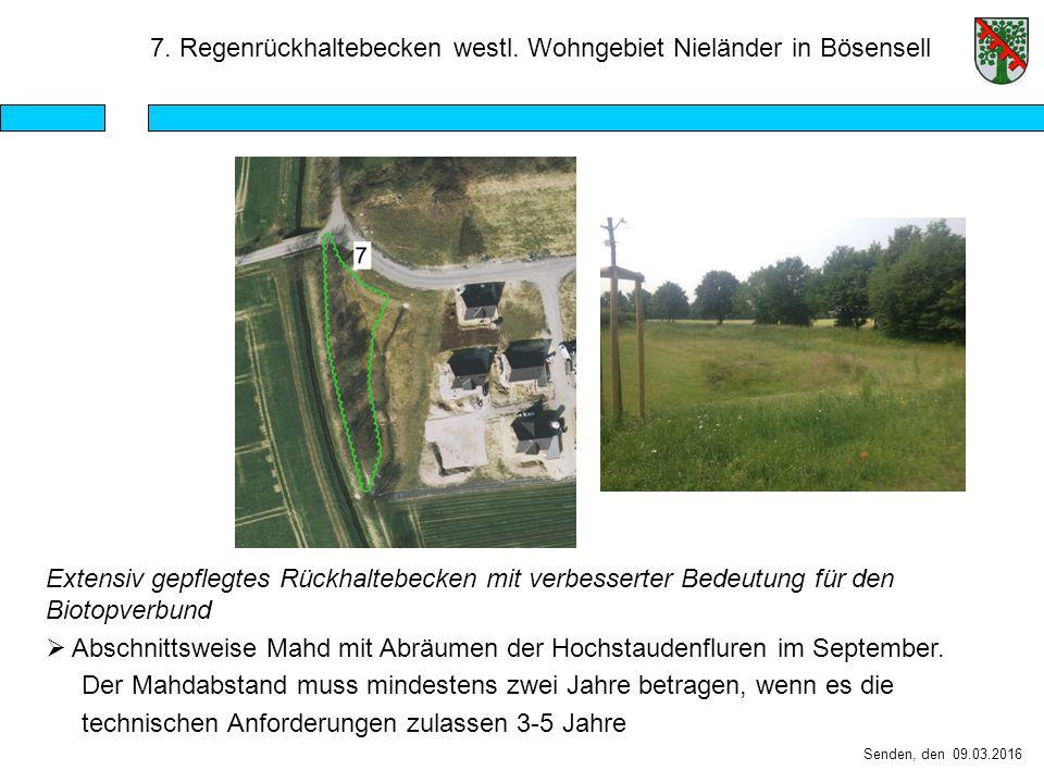 Senden, den 09.03.2016 7. Regenrückhaltebecken westl.