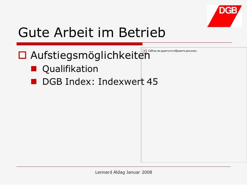 Lennard Aldag Januar 2008 Gute Arbeit im Betrieb  Aufstiegsmöglichkeiten Qualifikation DGB Index: Indexwert 45