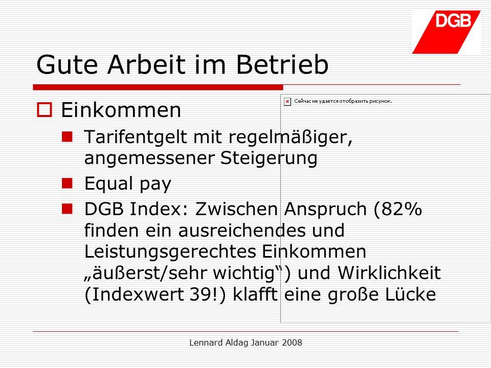 """Lennard Aldag Januar 2008 Gute Arbeit im Betrieb  Einkommen Tarifentgelt mit regelmäßiger, angemessener Steigerung Equal pay DGB Index: Zwischen Anspruch (82% finden ein ausreichendes und Leistungsgerechtes Einkommen """"äußerst/sehr wichtig ) und Wirklichkeit (Indexwert 39!) klafft eine große Lücke"""