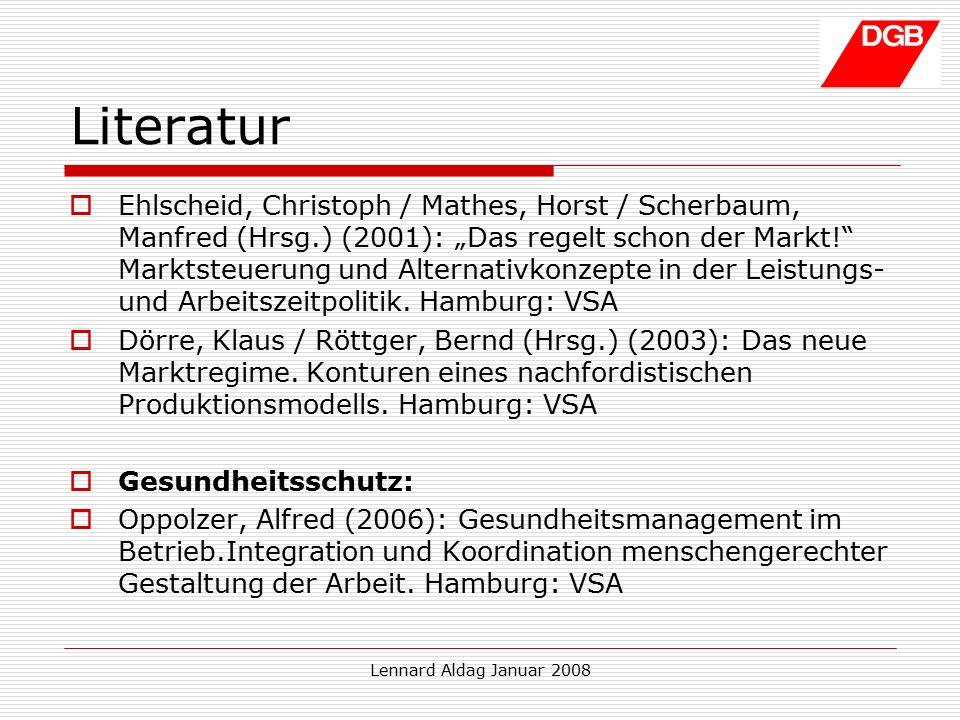"""Lennard Aldag Januar 2008 Literatur  Ehlscheid, Christoph / Mathes, Horst / Scherbaum, Manfred (Hrsg.) (2001): """"Das regelt schon der Markt! Marktsteuerung und Alternativkonzepte in der Leistungs- und Arbeitszeitpolitik."""