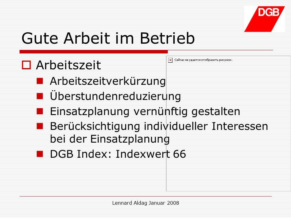 Lennard Aldag Januar 2008 Gute Arbeit im Betrieb  Mitbestimmung Betriebsrat Aufsichtsrat Gewerkschaften im Betrieb (z.B.