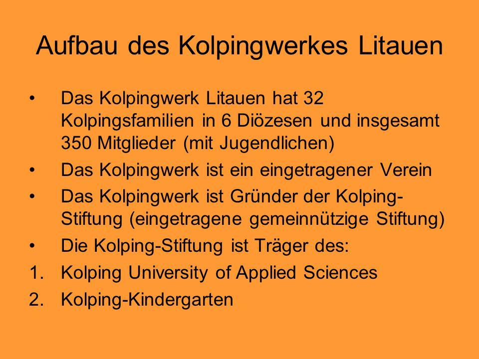 Aufbau des Kolpingwerkes Litauen Das Kolpingwerk Litauen hat 32 Kolpingsfamilien in 6 Diözesen und insgesamt 350 Mitglieder (mit Jugendlichen) Das Kolpingwerk ist ein eingetragener Verein Das Kolpingwerk ist Gründer der Kolping- Stiftung (eingetragene gemeinnützige Stiftung) Die Kolping-Stiftung ist Träger des: 1.Kolping University of Applied Sciences 2.Kolping-Kindergarten