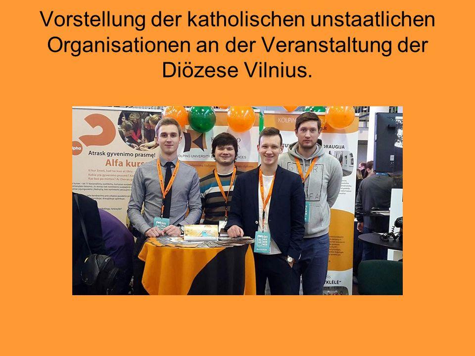 Vorstellung der katholischen unstaatlichen Organisationen an der Veranstaltung der Diözese Vilnius.