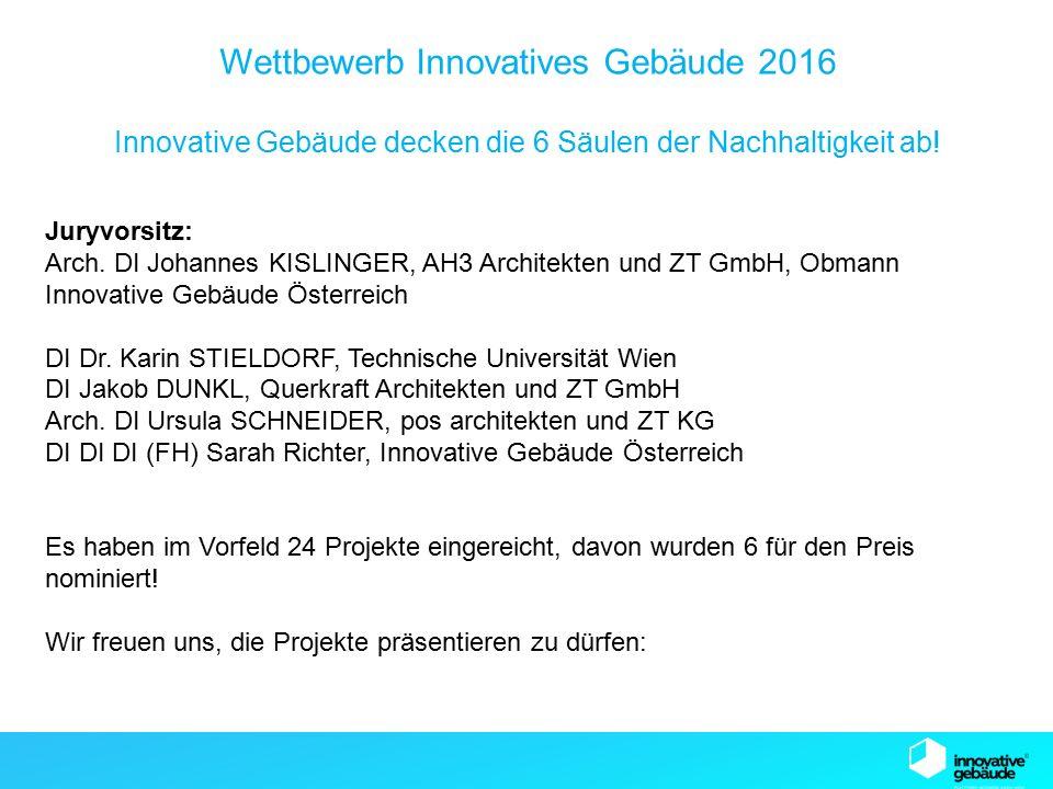 SB13 Graz Wettbewerb Innovatives Gebäude 2016 Innovative Gebäude decken die 6 Säulen der Nachhaltigkeit ab.